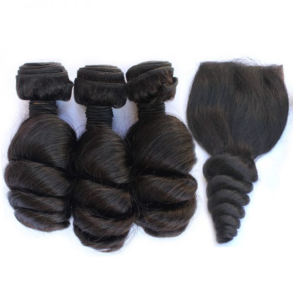 3 bundles with closure loose wave hair product 01