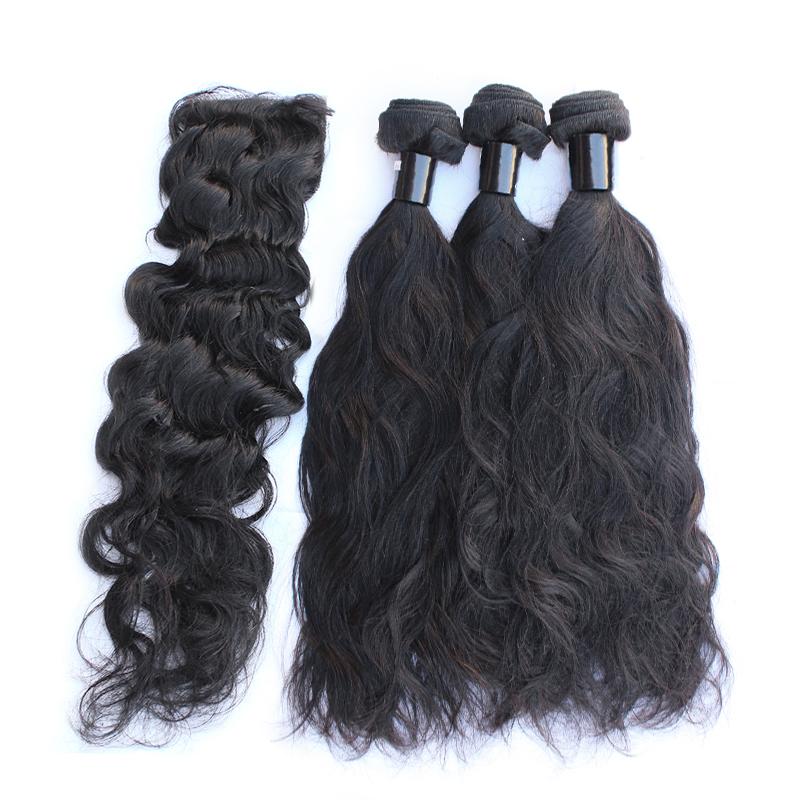 3 bundles with closure natural wave hair product 01