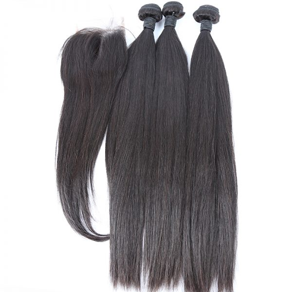 3 bundles with closure straight hair product 01