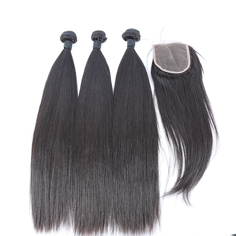 3 bundles with closure straight hair product 02