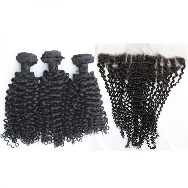3 bundles with frontal kinky curly hair product 01