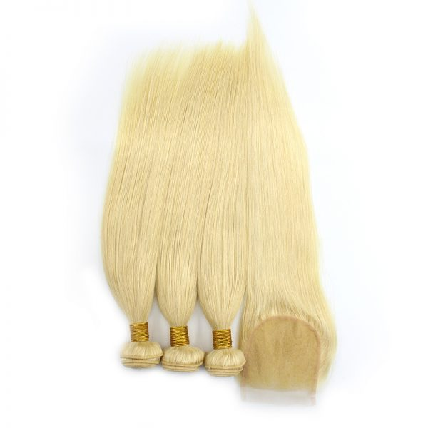 3 bundles with closure straight blond hair product 02