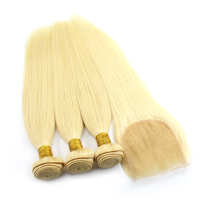 3 bundles with closure straight blond hair product 03